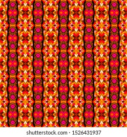 Orange seamless portuguese tiles. Ikat spanish tile pattern. Italian majolica. Mexican puebla talavera. Moroccan, Turkish, Lisbon floor tiles. Ethnic tile design. Tiled texture for flooring ceramic.
