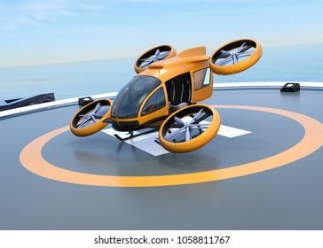 Orange selbstfahrende Beifahrer Drohne Start und Landung auf dem Helipad. 3D-Renderbild.
