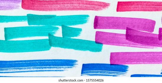 Orange Shibori Brush Lines. Indigo Paintbrush Hipster Marker Stripes. Rose Fuchsia Bright Juicy Doodle Marker Stripes. Forest Hot Pink Rainbow Hand Drawn Stroke.