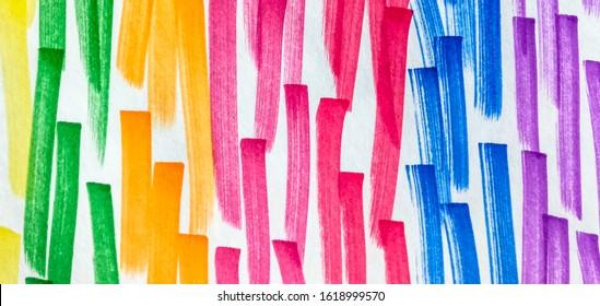 Orange Shibori Brush Lines. Violet Paintbrush Hipster Marker Stripes. Fuchsia Orange Rainbow Hand Drawn Stroke. Copper Red Paintbrush Hipster Marker Stripes.