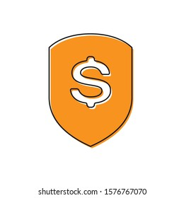 Orange Shield and dollar icon isolated on white background. Security shield protection. Money security concept.