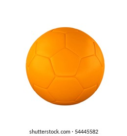 Orange shine soccer ball isolated on white background