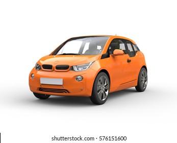 Orange small electric car - 3D Illustration