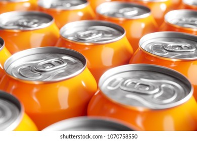 Orange soft drink cans. Macro shot. 3d render
