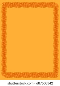 Orange solid background with abstract vertical frame. Copy space. Guilloche border for certificate or diploma, isolated. Raster clip art.