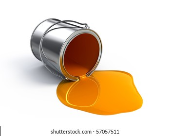 Orange spilled paint