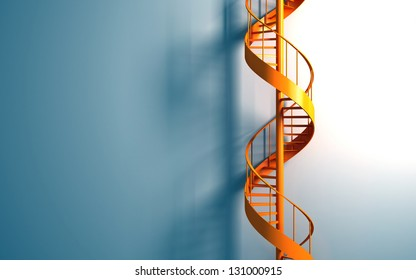 Orange spiral staircase on the blue wall rendering