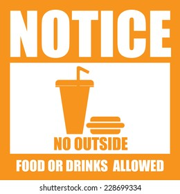 Orange Square Notice No Outside Food Or Drinks Allowed Icon, Sign, Label, Poster or Sticker Isolated on White Background
