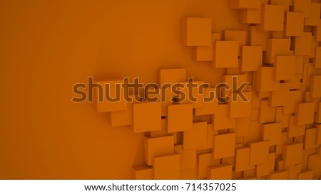 Orange Squares Wallpaper Plain Background Design 3D Render