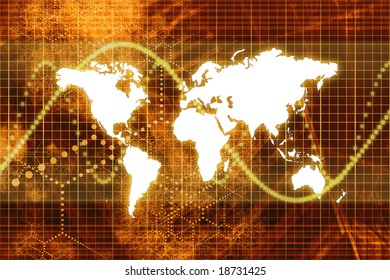 Orange Stock Market World Economy Abstract Background