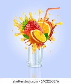 Orange, strawberry fruit juices blend splash from glass. Healthy fruits juice or smoothie splash drink ad with orange, strawberry fruits juice splash with drinking straw. Clipping path. 3D