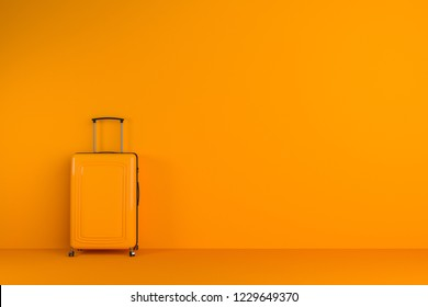 Orange suitcase standing in orange room. Concept of tourism and travelling. 3d rendering mock up