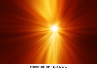 Orange sun with dramatic rays illustration background