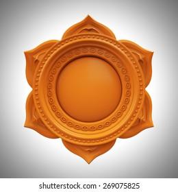 orange Svadisthana spleen chakra base, 3d abstract symbol, isolated color design element