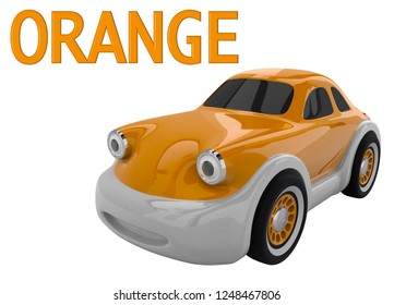 Orange toy car and an inscription with the name of the color. Isolated on white background. 3D render
