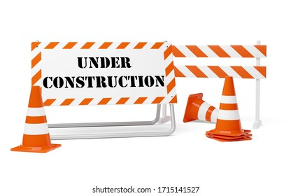 Orange traffic warning cones or pylons with street barrier and under construction sign on white background - under construction, maintenance or attention concept, 3D illustration