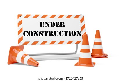 Orange traffic warning cones or pylons with street barrier under construction sign on white background - under construction, maintenance or attention concept, 3D illustration