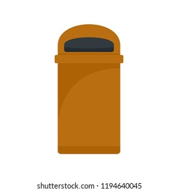Orange trash box icon. Flat illustration of orange trash box icon for web design