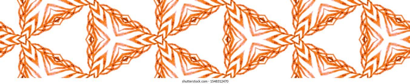 Orange tropical Seamless Border Scroll. Geometric Watercolor Frame. Adorable Seamless Pattern. Medallion Repeated Tile. Outstanding Chevron Ribbon Ornament.