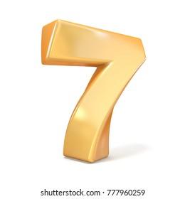 Orange twisted font number SEVEN 7 3D render illustration isolated on white background