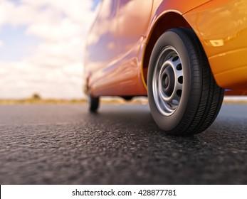 Orange van wheel close-up 3d illustration