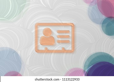 Orange Vcard Icon on the White Painted Oil Background. 3D Illustration of Orange v Card, v Card, Vcard, Vcard File, Vcard File Icon Set on the White Background.