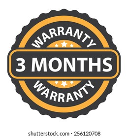 orange vintage, retro 3 months warranty sticker, badge, icon, stamp, label, banner, sign isolated on white