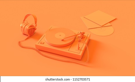 Orange Vintage Turntable Record Player with Headphones 3d illustration