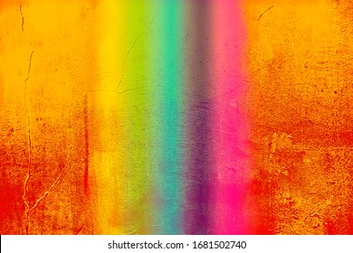 Orange wall with rainbow stripes in the middle