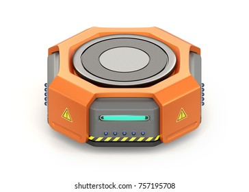 Orange warehouse robot carrier isolated on white background. 3D rendering image.
