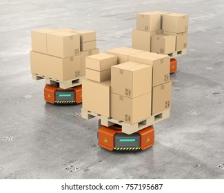 Orange warehouse robot carriers carrying cardboard boxes. 3D rendering image.
