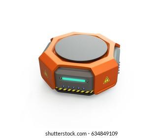 Orange warehouse robot on white background. 3D rendering image.