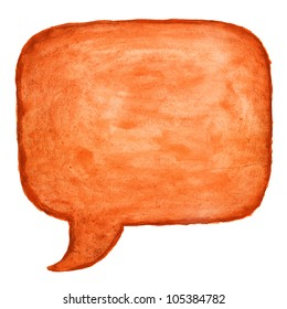 Orange watercolor blank speech bubble dialog square shape on white background. Colored handmade technique aquarelle.