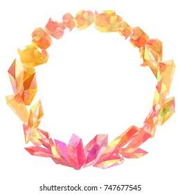 orange watercolor crystal wreath