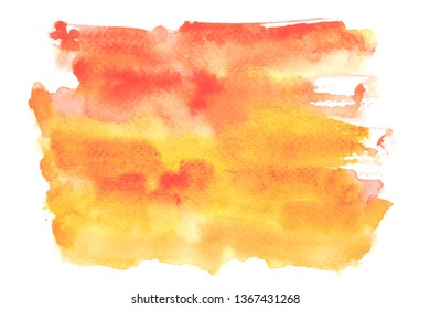 orange watercolor stain with colorful shades paint stroke background
