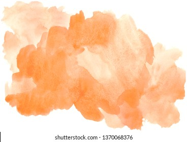 orange watercolor stains with gradient.Watercolor cloud