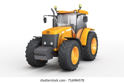 Orange wheel harvesting tracktor isolated on white background. Front side view. Perspective. 3D illustration