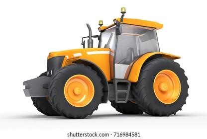 Orange wheel harvesting tracktor isolated on white background. Side view. 3D illustration. 3D illustration