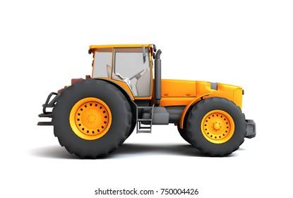 Orange wheel harvesting tracktor moving from left to right isolated on white background. 3D illustration. Side view