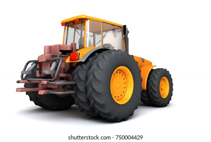 Orange wheel harvesting tracktor moving from left to right isolated on white background. 3D illustration. Rear view. Perspective