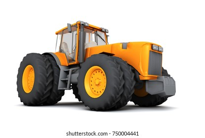 Orange wheel harvesting tracktor moving from left to right isolated on white background. 3D illustration. Front side view. Perspective