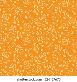 Orange and White Dog Paw Prints, Puppy, Bone and Hearts Tile Pattern Repeat Background that is seamless and repeats