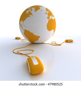 Orange and white Earth Globe connected with three computer mice.