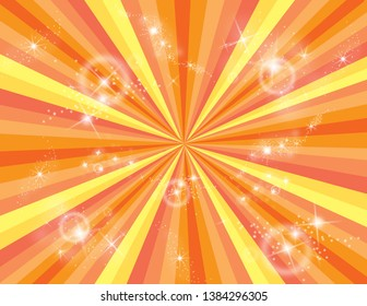 Orange and yellow abstract striped perspective with swirls and stars. Groovy, psychedelic summer background.