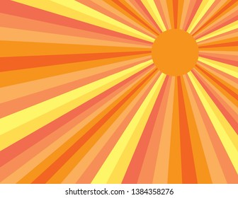 Orange and yellow abstract sunny day burst of rays from sunshine. Perspective with concentration lines.  Groovy, psychedelic summer background.
