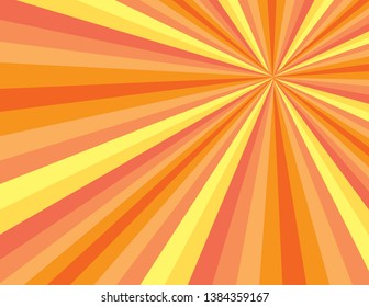 Orange and yellow abstract sunny day burst of rays. Perspective with concentration lines.  Groovy, psychedelic summer background.