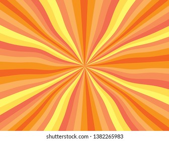 Orange and yellow abstract wavy rainbow perspective.  Perspective with concentration lines.  Groovy, psychedelic Summer background.