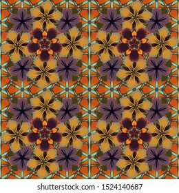 Orange, yellow and brown texture. Seamless pattern with abstract motley ornament.