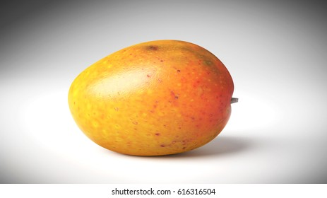 Orange and Yellow Mango on a grey Studio Background.  3D Rendering