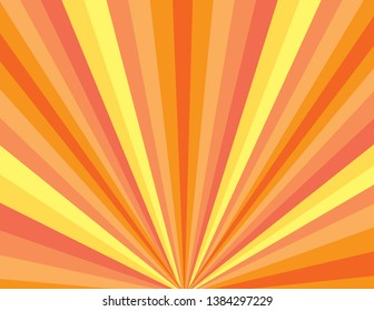 Orange and yellow sunrise sunset abstract burst of rays. Summer background.